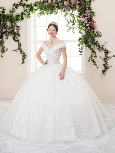 Glitter Off Shoulder Quinceanera Dress by House of Wu 26957