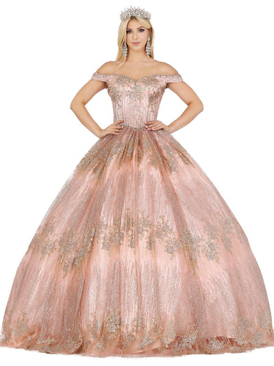 Glitter Off Shoulder Sweetheart Ball Gown by Dancing Queen 1424