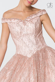 Glitter Pattern Off the Shoulder Ball Gown by Elizabeth K GL2832-Quinceanera Dresses-ABC Fashion