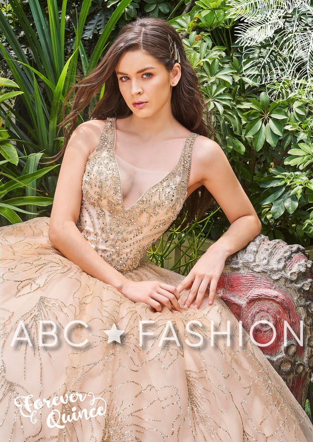 Glitter Pattern V-Neck Quinceanera Dress by Forever Quince FQ805-Quinceanera Dresses-ABC Fashion