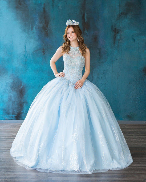 Glitter Print High Neck Quinceanera Dress by Calla SYL19002