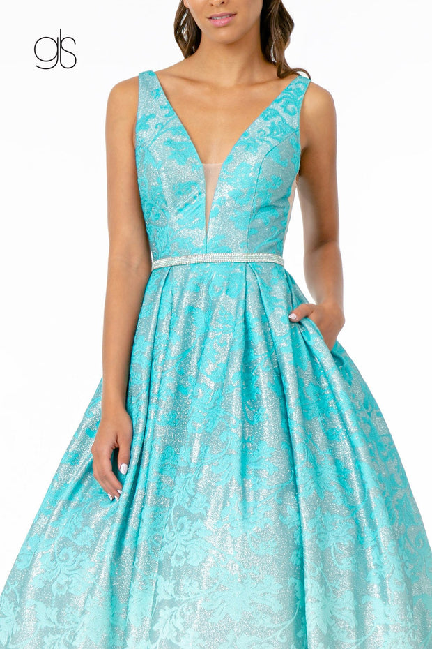 Glitter Print Long Illusion V-Neck Dress by Elizabeth K GL2897