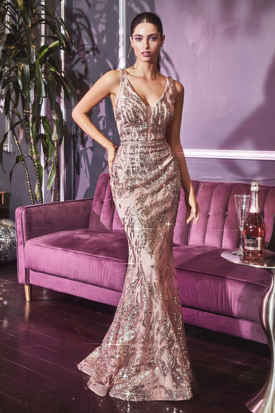 Glitter Print Mermaid Dress by Cinderella Divine J9646