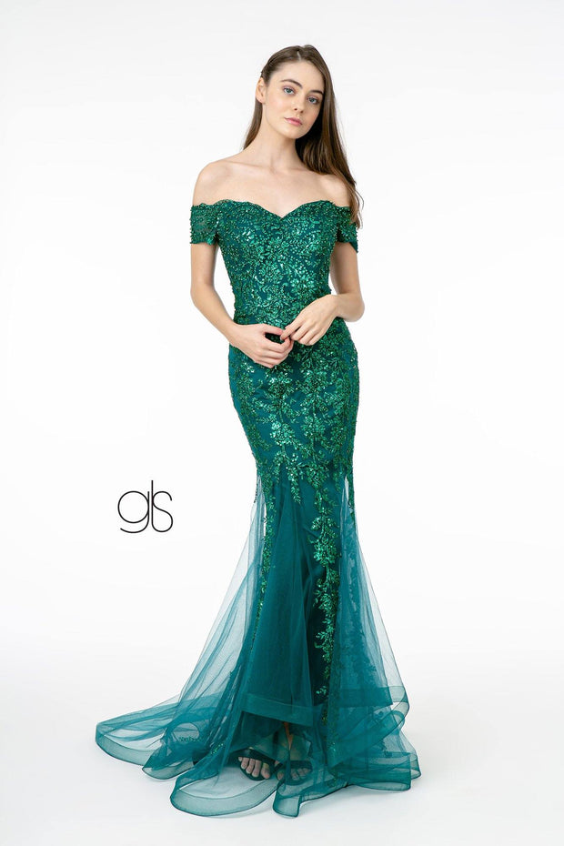Glitter Print Mermaid Gown with Cutout Back by Elizabeth K GL1823
