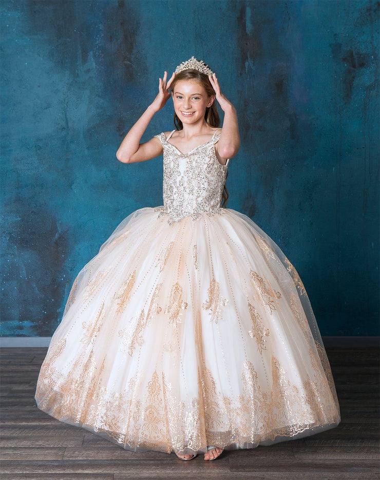 Girls Glitter Print Off Shoulder Ball Gown by Calla SY140