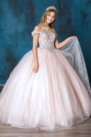 Glitter Print Off Shoulder Quinceanera Dress by Calla SYL19003