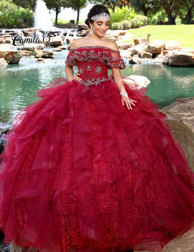 Glitter Print Off Shoulder Quinceanera Dress by Camila Q Q1010-Quinceanera Dresses-ABC Fashion