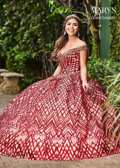 Glitter Print Off Shoulder Quinceanera Dress by Mary's Bridal MQ2088-Quinceanera Dresses-ABC Fashion