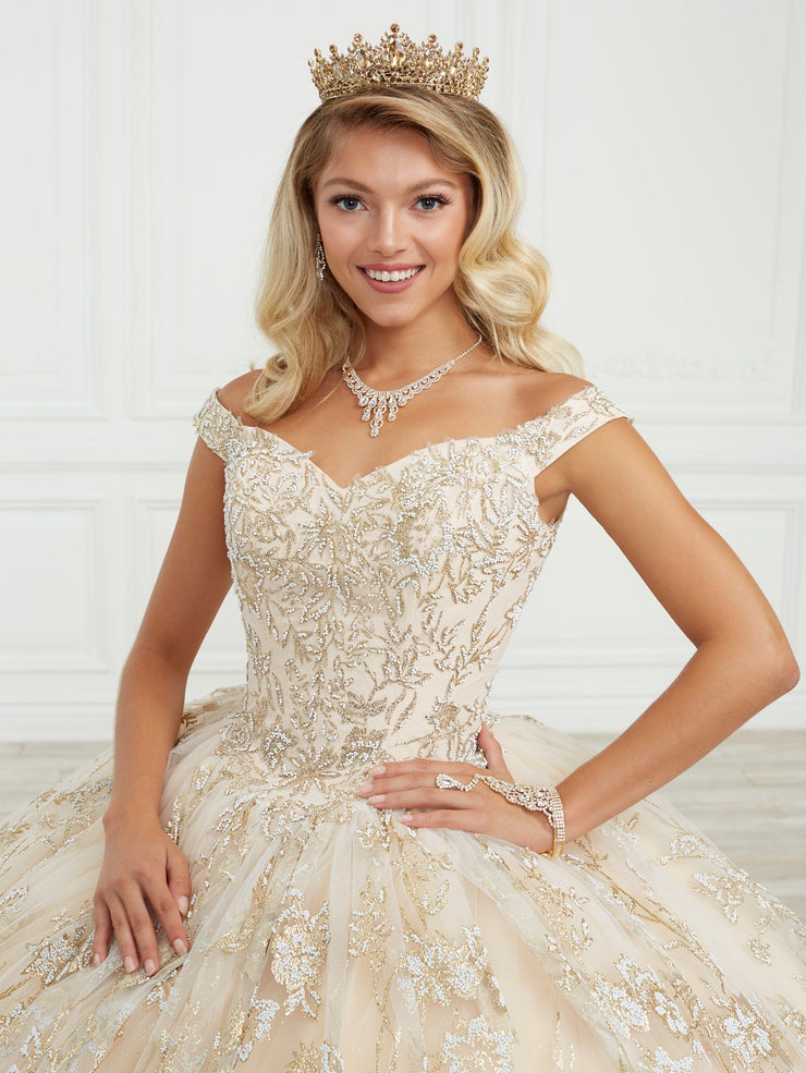 Glitter Print Quinceanera Dress by House of Wu 26970