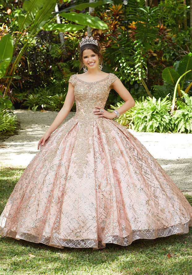 Glitter Print Quinceanera Dress by Mori Lee Vizcaya 89287