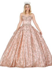 Glitter Print Strapless Ball Gown by Dancing Queen 1438