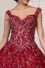 Glitter Print Sweetheart Ball Gown by Elizabeth K GL1945