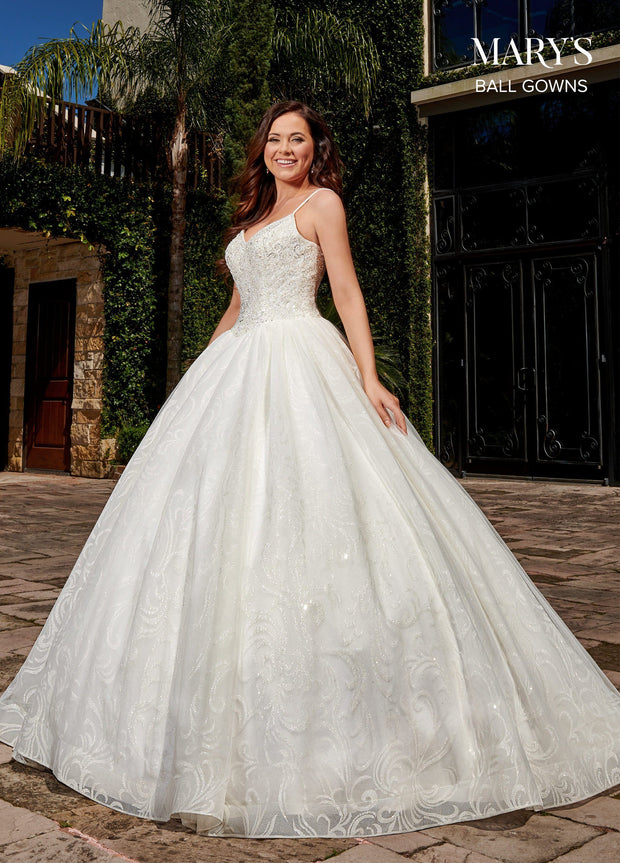 Glitter Print Wedding Ball Gown by Mary's Bridal MB6071