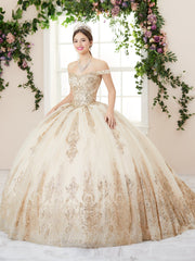 Glitter Sequin Off Shoulder Quinceanera Dress by House of Wu 26960