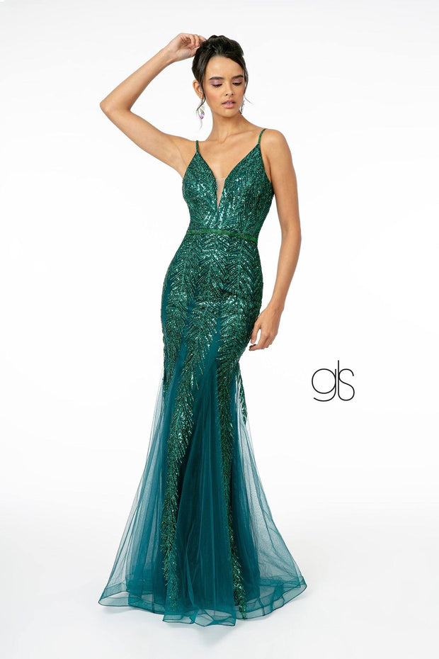 Glitter Sequined V-Neck Mermaid Gown by Elizabeth K GL2939