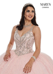 Glitter Sleeveless Quinceanera Dress by Mary's Bridal MQ1061-Quinceanera Dresses-ABC Fashion