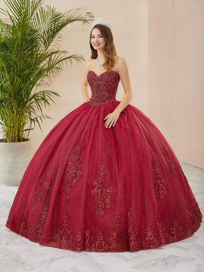 Glitter Strapless Quinceanera Dress by Fiesta Gowns 56408