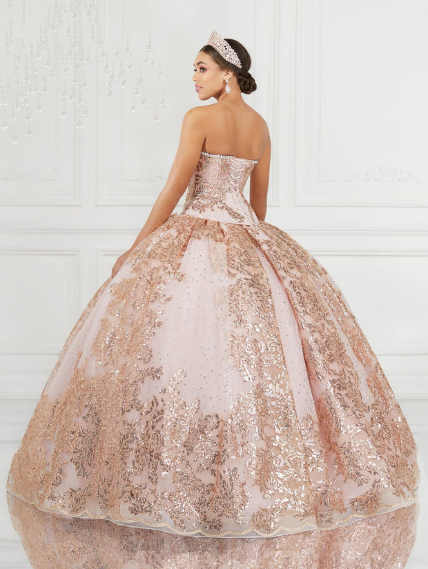 Glitter Strapless Quinceanera Dress by LA Glitter 24077