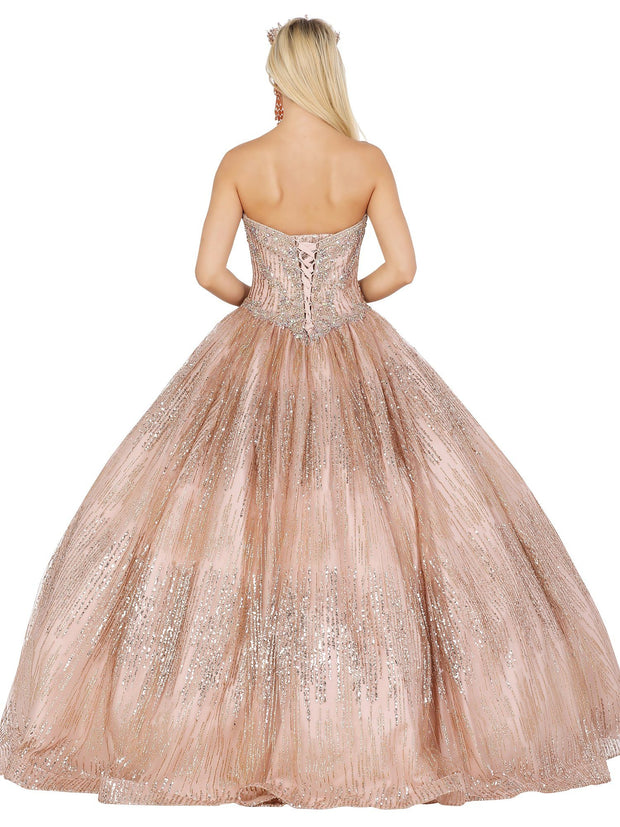 Glitter Strapless Sweetheart Ball Gown by Dancing Queen 1530