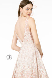 Glitter Tulle Long Illusion V-Neck Dress by Elizabeth K GL2908