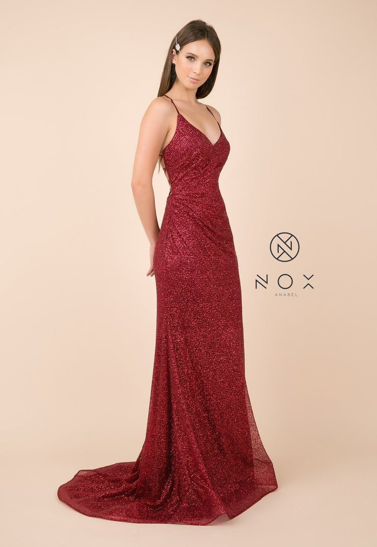 Glitter V-Neck Trumpet Dress with Open Back by Nox Anabel T290-Long Formal Dresses-ABC Fashion