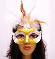 Gold and White Masquerade Masks with Feathers-Masquerade Masks-ABC Fashion