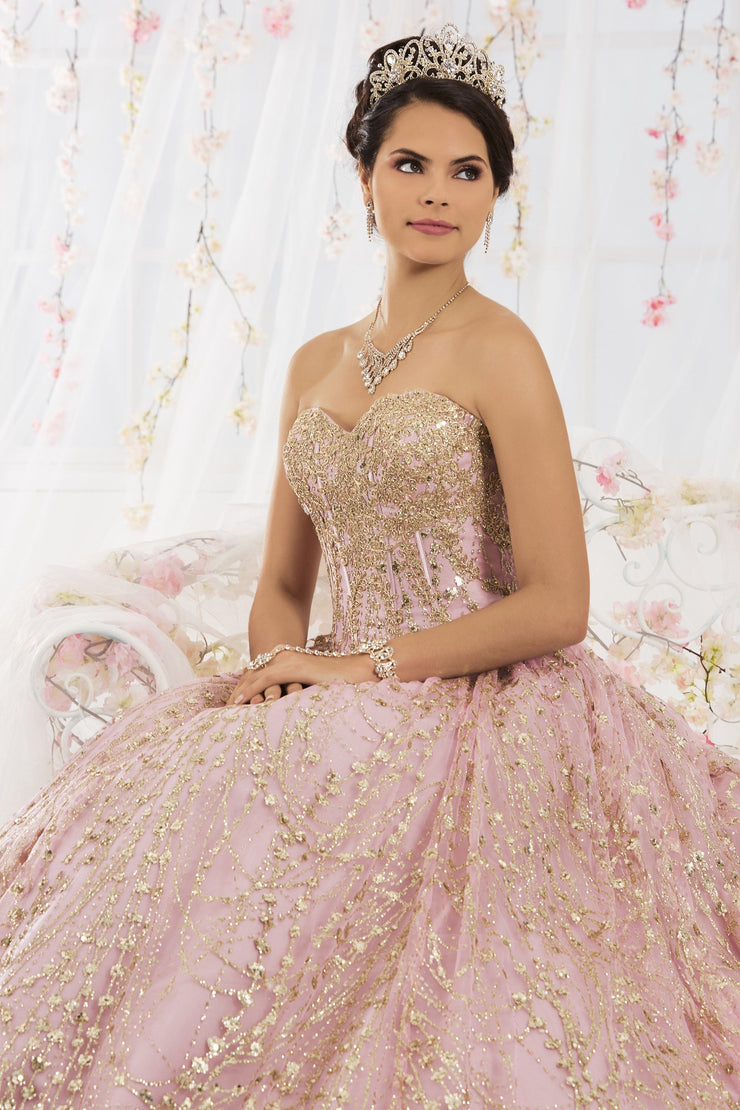 Gold Applique Bolero Jacket with Sheer Sleeves by House of Wu J105-Quinceanera Dresses-ABC Fashion