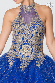 Gold Applique Halter Ball Gown with Glitter Skirt by Elizabeth K GL2805-Quinceanera Dresses-ABC Fashion