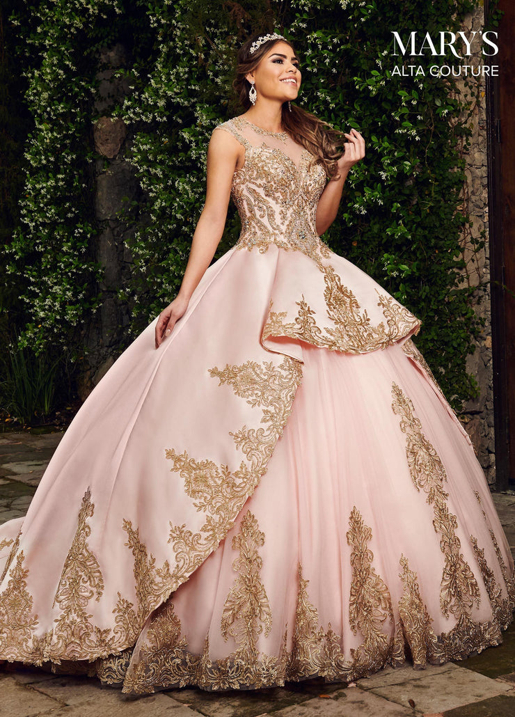 Gold Applique Illusion Quinceanera Dress by Alta Couture MQ3034-Quinceanera Dresses-ABC Fashion