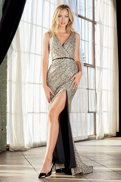 Gold Applique Long Fitted Dress with Slit by Cinderella Divine C31