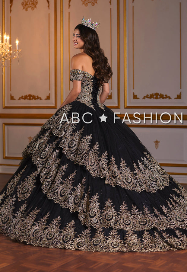 Gold Applique Off Shoulder Quinceanera Dress by House of Wu 26934-Quinceanera Dresses-ABC Fashion