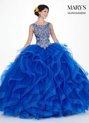 Gold Applique Ruffled Quinceanera Dress by Mary's Bridal MQ1034-Quinceanera Dresses-ABC Fashion