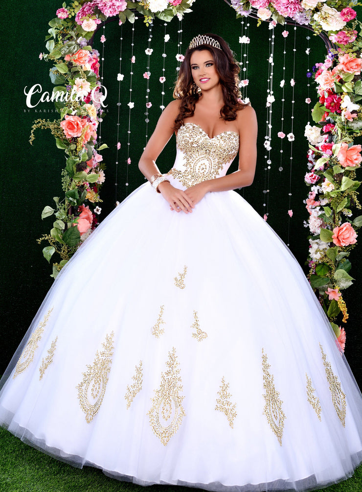 Gold Applique Strapless Quinceanera Dress by Camila Q Q17010-Quinceanera Dresses-ABC Fashion