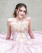 Gold Applique Strapless Quinceanera Dress by House of Wu 26913