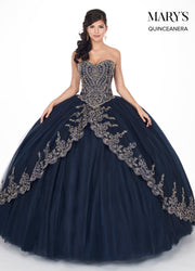 Gold Applique Strapless Quinceanera Dress by Mary's Bridal MQ1035-Quinceanera Dresses-ABC Fashion
