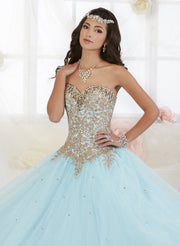 Gold Beaded Strapless Dress by House of Wu Fiesta Gowns 56286