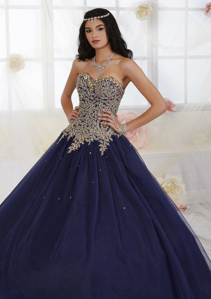 Gold Beaded Strapless Dress by House of Wu Fiesta Gowns Style 56286-Quinceanera Dresses-ABC Fashion