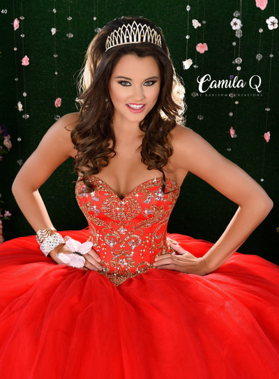 Gold Beaded Strapless Quinceanera Dress by Camila Q Q17004-Quinceanera Dresses-ABC Fashion