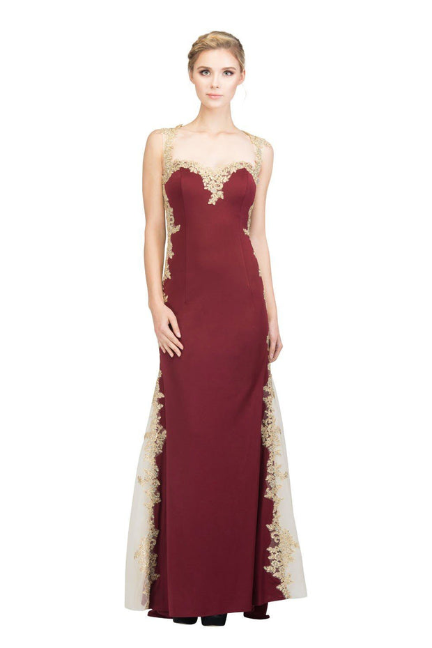 Gold Embroidered Long Sleeveless Dress with Sheer Sides by Star Box 6419-Long Formal Dresses-ABC Fashion