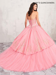 Gold Embroidered Quinceanera Dress by Mary's Bridal M4Q2019-Quinceanera Dresses-ABC Fashion