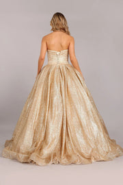 Gold Glitter Strapless Ball Gown by Cinderella Couture