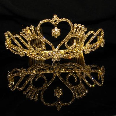 Gold Heart Tiara with Crystals and Clear Stones - T051-Quinceanera Tiaras-ABC Fashion