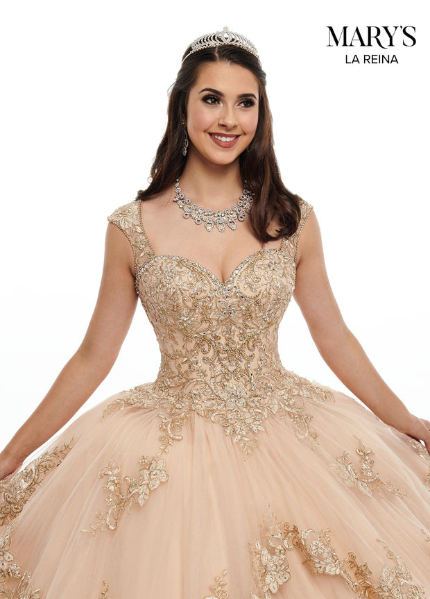 Gold Lace Applique Quinceanera Dress by Mary's Bridal MQ2098-Quinceanera Dresses-ABC Fashion