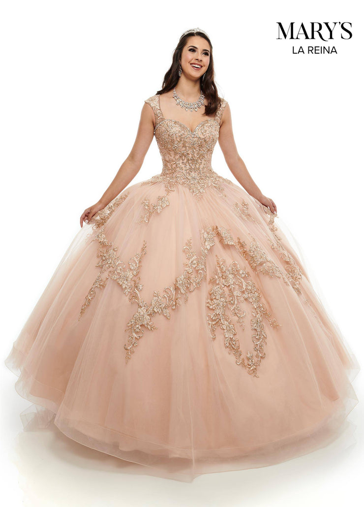 Gold Lace Applique Quinceanera Dress by Mary's Bridal MQ2098