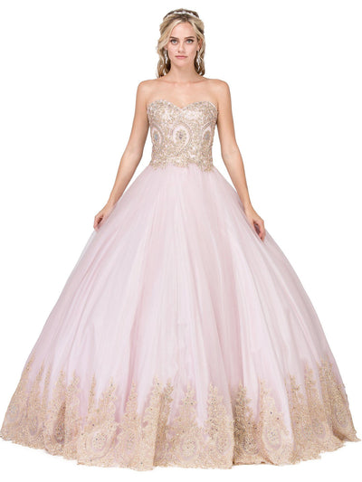 Gold Lace Appliqued Strapless Ball Gown by Dancing Queen 1115