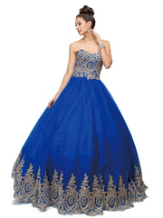 Gold Lace Appliqued Strapless Ball Gown by Dancing Queen 1115-Quinceanera Dresses-ABC Fashion