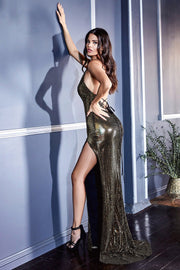 Gold Metallic Gown by Cinderella Divine CM8078