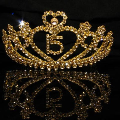 Gold Quinceanera Tiara with Clear Stones - T032-Quinceanera Tiaras-ABC Fashion