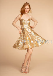 Gold Short Strapless Sequin Print Dress by Elizabeth K GS1635-Short Cocktail Dresses-ABC Fashion
