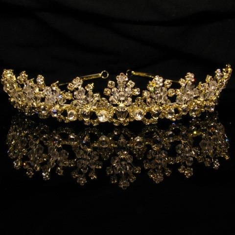 Gold Tiara with Crystals and Clear Stones - T025-Quinceanera Tiaras-ABC Fashion
